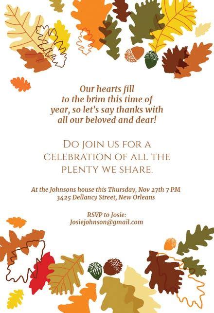 sharing  plenty thanksgiving invitation template
