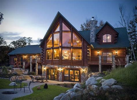 Log Cabin Style Meets Ethnic Modern Interior Design by Traditional Meets Modern With Wood And Vast Areas Of Glass