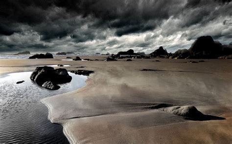 Clouds Landscapes Beach Rocks Hdr Photography Wallpaper
