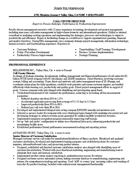 Sle Of Call Center Resume Objective by Call Center Resume Whitneyport Daily