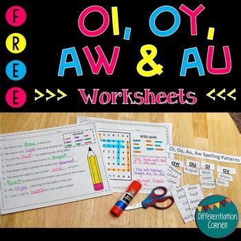 vowel digraph oy oi aw au worksheets  images