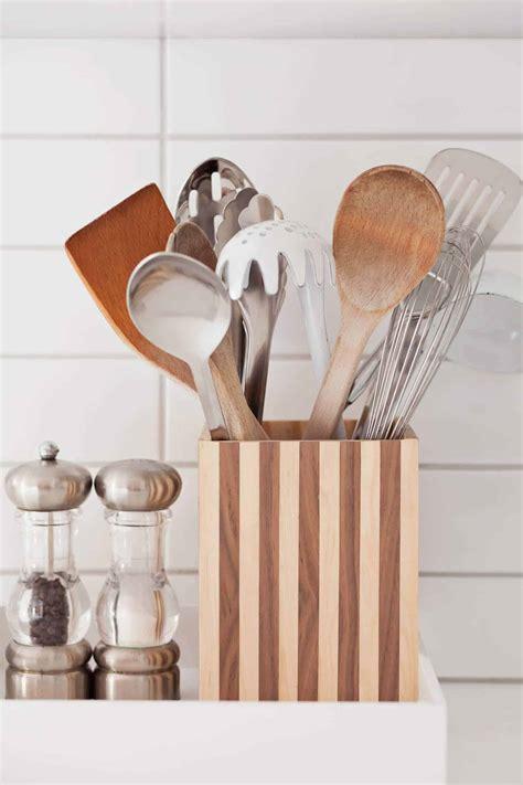 wood striped utensil holder  beautiful mess