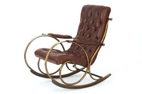 leather brass and wood rocking chair by woodard