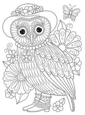 818 best Coloring owls images on Pinterest | Coloring
