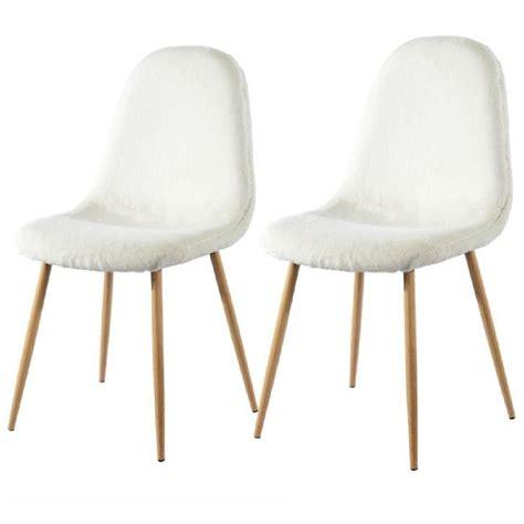 chaise fourrure chaise pilou blanche lot de 2 achat vente chaise