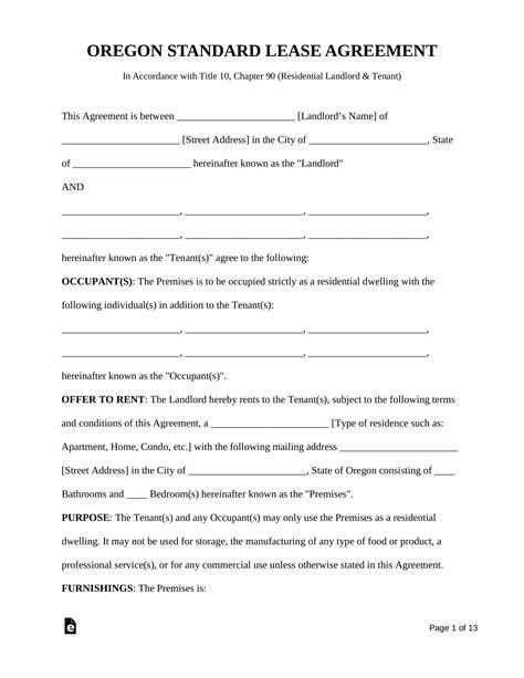 oregon rental lease agreements residential