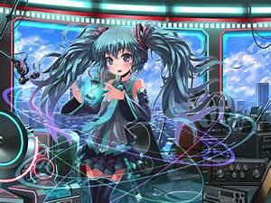 Aqua, Eyes, Aqua, Hair, Building, City, Hatsune, Miku, Headphones, Long, Hair, Microphone, Patorishia, Skirt