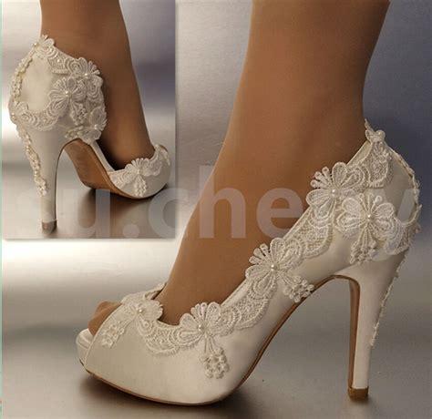 Sucheny 3 4 Heel Satin White Ivory Lace Pearls Open Toe