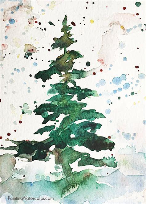 card tree watercolor painting tutorial
