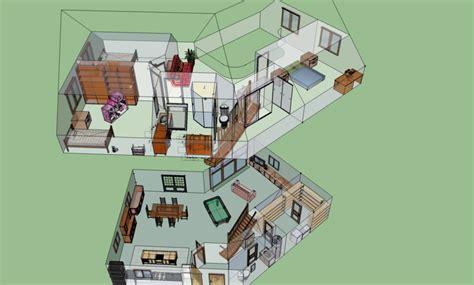 chambre avec poutre plan de la maison 3d sketchupisé