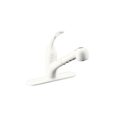 kohler white kitchen faucet shop kohler coralais white 1 handle pull out kitchen faucet at lowes com