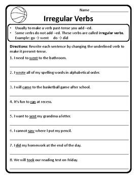 past and present tense irregular verbs worksheet irregular verbs past tense verb