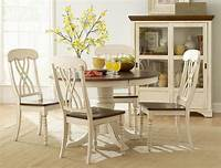 white kitchen table and chairs 5Pc Casual Two Tone Antique White Warm Cherry Solid Wood ...
