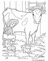 Farm Cow Coloring Milking Boy Cows Ausmalbilder Colouring Calves Barn Bauernhof Printable Puppy Visiter sketch template