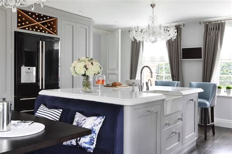 island banquette ideas contemporary kitchen zoffany paint silver oliver burns