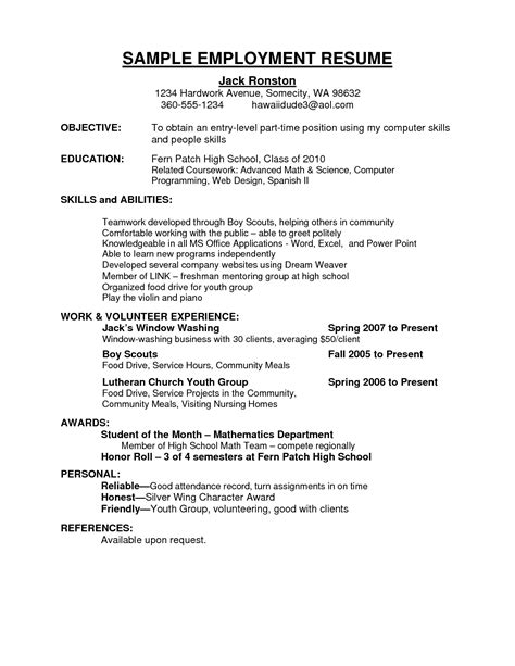 Time Employment Resume Template by Doc 8001035 Resume Sle For Part Time Bizdoska