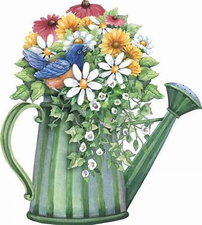Watering Spring Clipart Decoupage Flowers Flower Bouquet