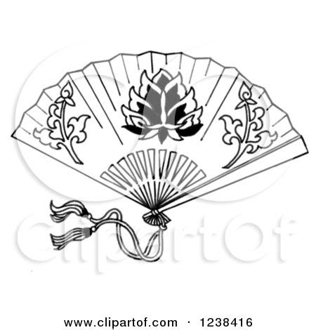 clipart   cartoon gloved hand holding  chinese fan