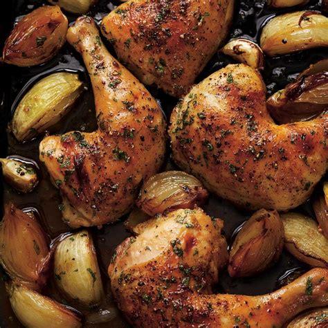 recette de cuisine cuisse de poulet cuisses de poulet rôties à l 39 oignon ricardo