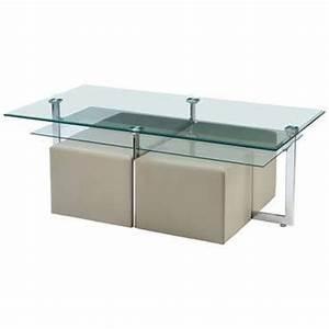 Table Basse 4 Poufs : table basse plateau en verre tremp 4 poufs elgaro sur large choix prix ~ Teatrodelosmanantiales.com Idées de Décoration