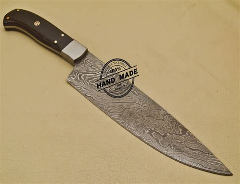 made kitchen knives custom handmade damascus steel chef kitchen knife with