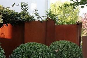 sichtschutz wand aus 3mm aus rost stahl With französischer balkon mit blech zaun garten