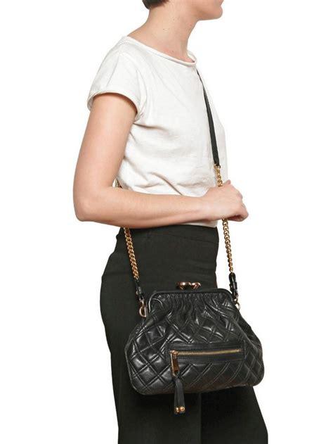 marc jacobs  stam quilted leather shoulder bag  black lyst