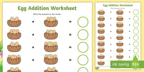 eggs  nests addition sheet eggs addition egg counting
