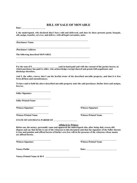 Louisiana Boat Bill Of Sale by Louisiana Bill Of Sale Form Free Templates In Pdf Word