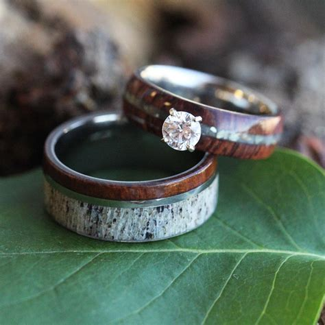 unique wedding ring antler wedding band engagement ring jewelry by johan