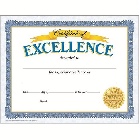 Trend Enterprises Certificate Templates T 11301 by Certificate Of Excellence 30 Pk Make Students Feel Proud
