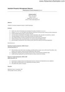 Apartment Property Manager Resume by Assistant Property Manager Resume Sle Jennywashere