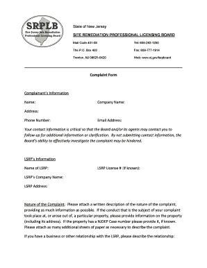 fillable online nj lsrp complaint form with instructions