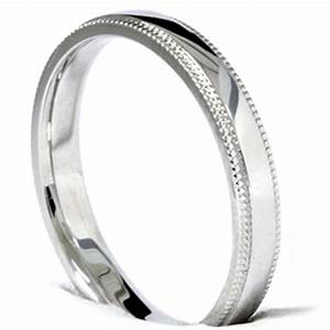 Solid 3 MM Thin 14K White Gold Mens Wedding Ring High