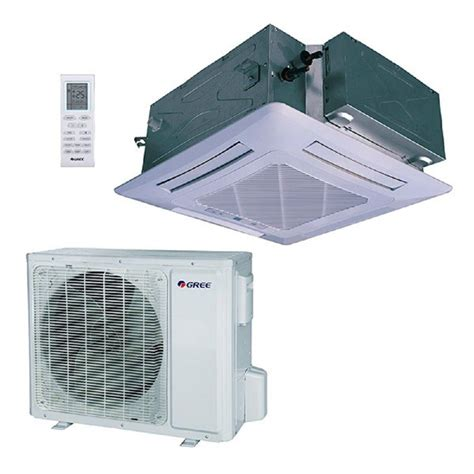 gree 18 000 btu 1 5 ton ductless ceiling cassette mini split air conditioner with heat