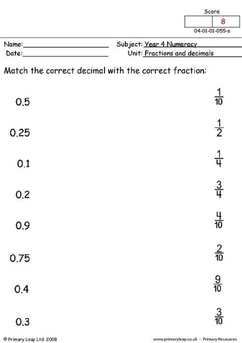decimal to fraction matching worksheet fractions and decimals primaryleap co uk