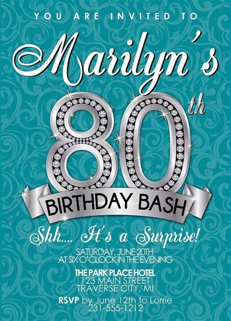 80th Birthday Invitations Ideas Bagvania FREE Printable