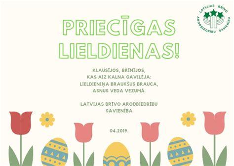 Apsveikums Lieldienās - LBAS - Latvijas Brīvo Arodbiedrību Savienība