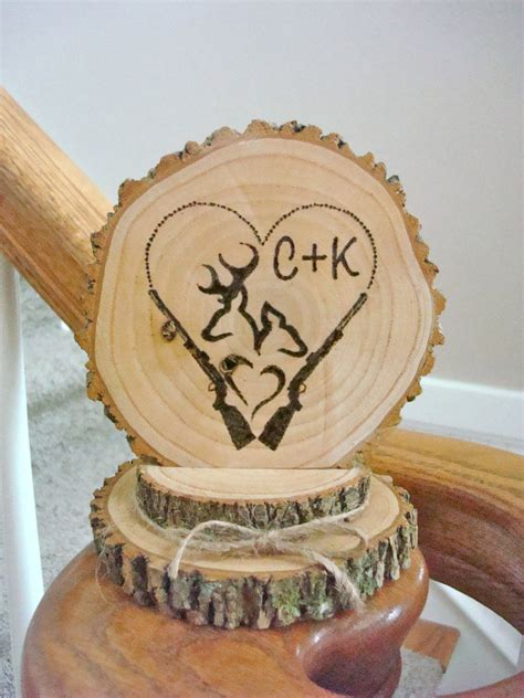 rustic wedding cake topper personalized wood deer couple