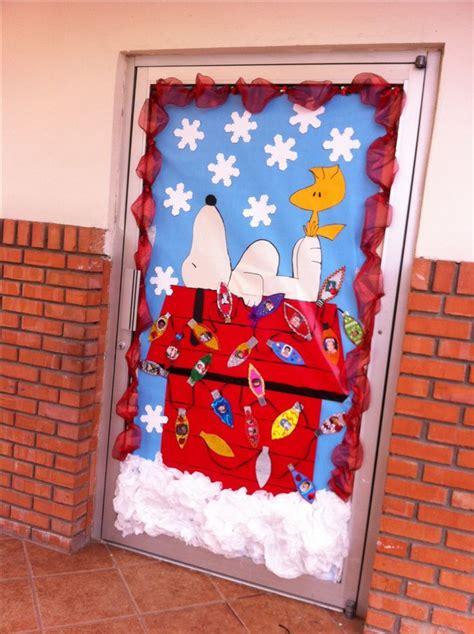 snoopy christmas door classroom decor pinterest