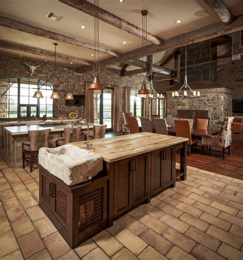 single pendant lighting kitchen island ranch rustic kitchen houston by thompson custom homes