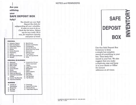 safe deposit box inventory form american deposit services inc