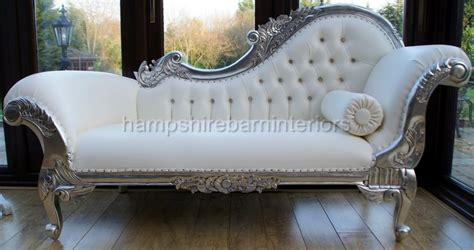 ornate chaise longue lounge sofa silver leaf white faux