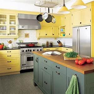 cocinas amarillas decoracion With kitchen cabinets lowes with yellow and green wall art