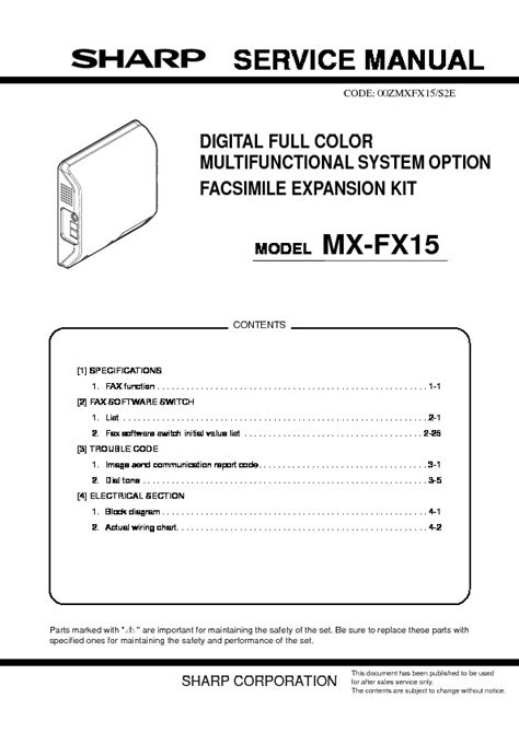 Sharp MX-FX15 Service Manual — View online or Download