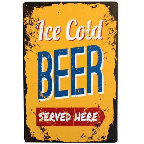 ice cold beer metal tin sign retro beer decor plaque alcohol beverage for home kitchen music