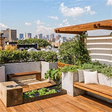 modern roof garden with decking balcony rooftop