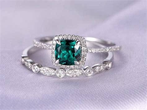 2pcs Wedding Ring Set,emerald Engagement Ring,14k White