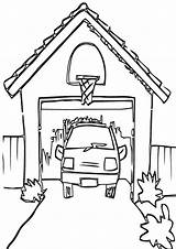 Garage Coloring Pages Building sketch template