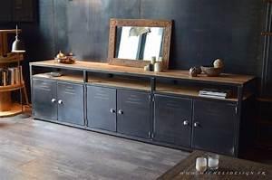 enfilade meuble de rangement acier bois 3m osez l39artisanat With meuble tv sur mesure design 16 bahut industriel 3 portes bois massif metal micheli design